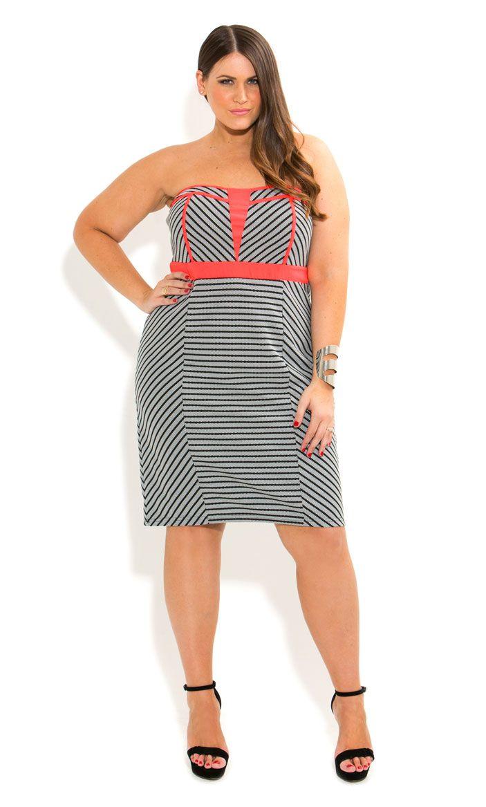 aa3e817dcc136 City Chic - MONOTONE NEON TRIM DRESS - Women s plus size fashion