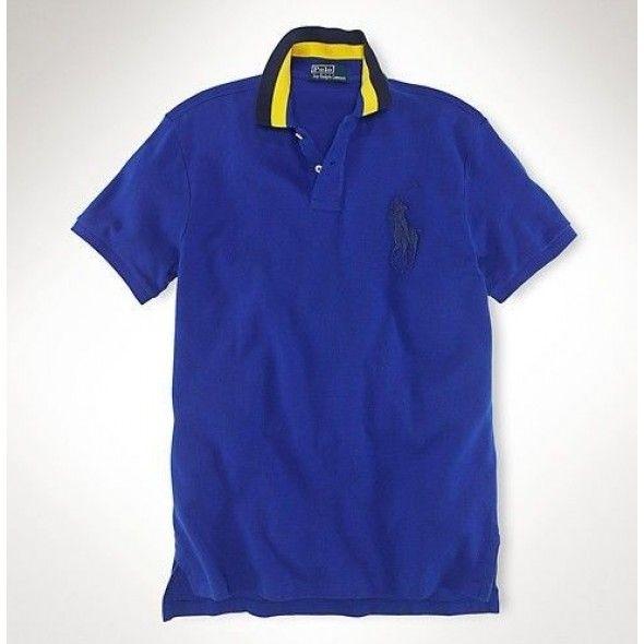 Men Find Cheap Best Quality Ralph Lauren Mesh Black Big Pony Polo Blue