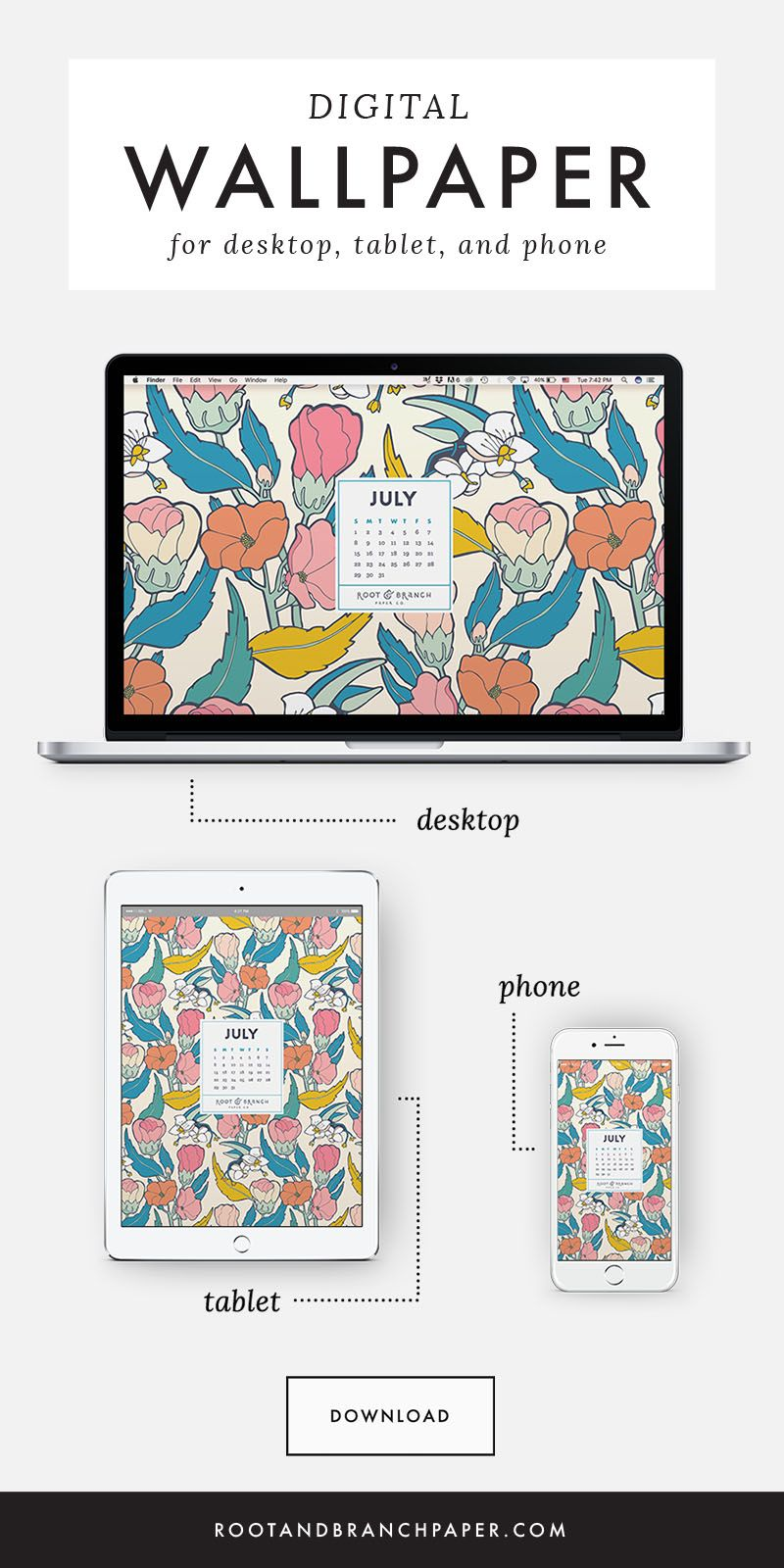 Free Digital Wallpaper July 2018 Calendar In 2019 Printables