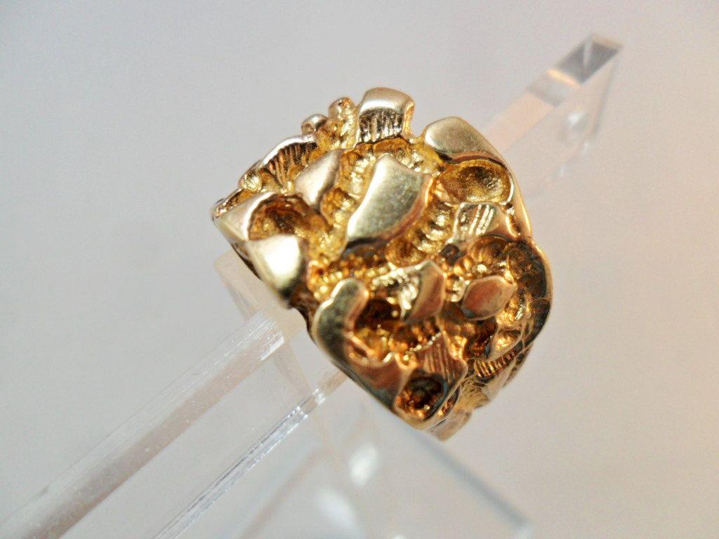 Vintage Men S Ring Gold Metal Signed 18kt Hgf Nugget 12 Etsy Mens Ring Gold Rings For Men Gold Metal