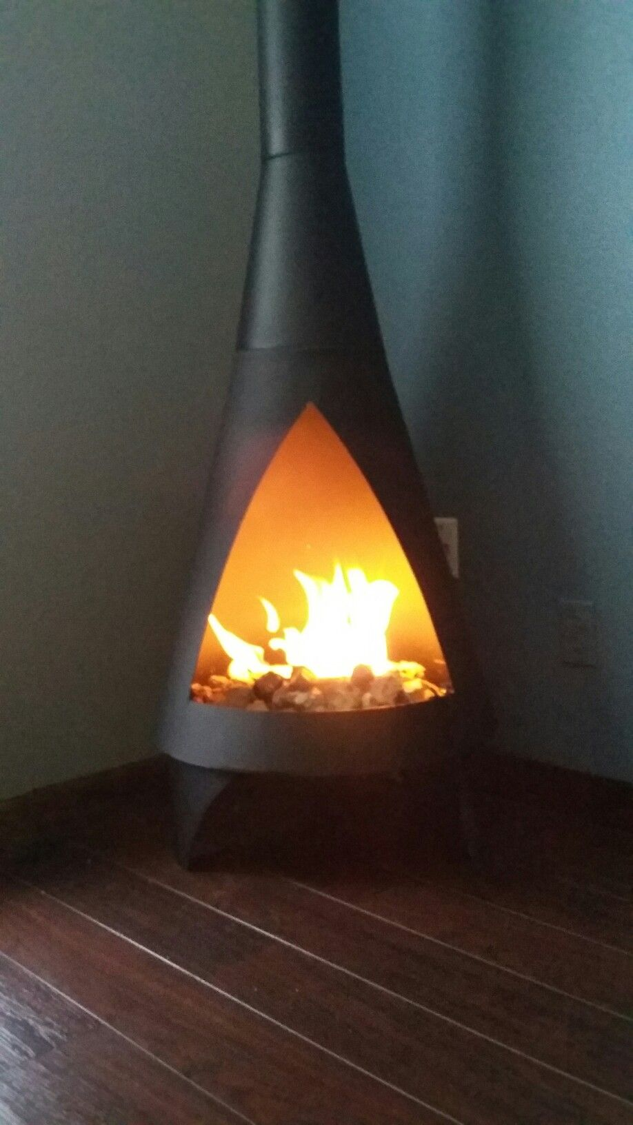 Chiminea Repurposed As An Indoor Fireplace Still Need A Cap On The Top To Keep Ceiling From Catching Fire