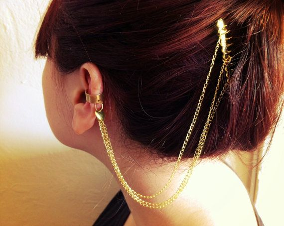 Gold Chain Ear Cuff By Francisfrank On Etsy 18 00