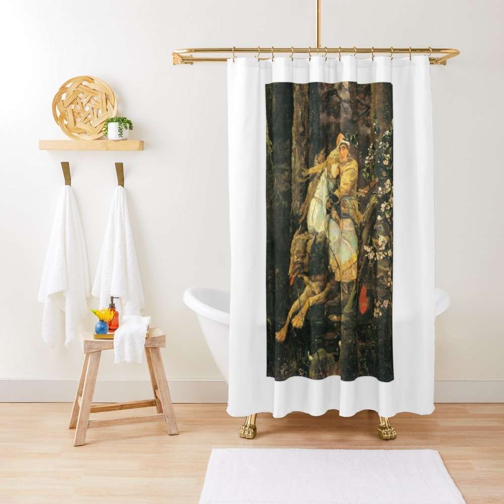 Victor Vasnetsov Prince Ivan Riding Gray Wolf Shower Curtain By