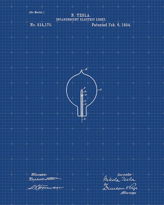 Tesla light bulb patent from 1894 tesla wall art by visualdesign tesla light bulb patent from 1894 tesla wall art tesla print tesla patent tesla poster blueprint malvernweather Gallery
