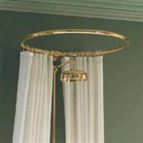 Circular Shower Curtain Rail Wall Fixing In Polished Brass Gold