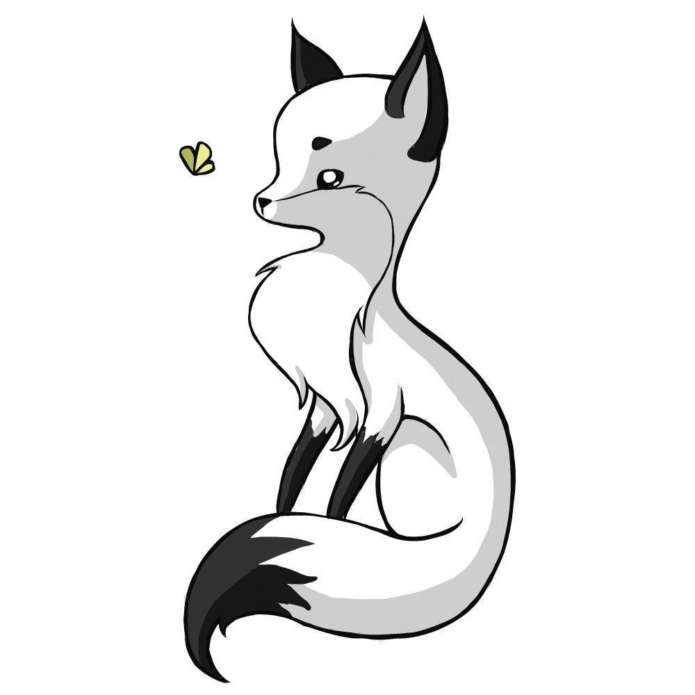 Digital animal art wall sticker decal fox and a butterfly