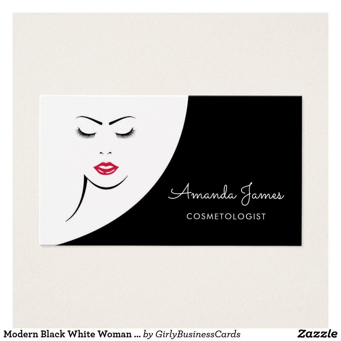 Modern Black White Woman Red Lips Cosmetologist Business Card ...