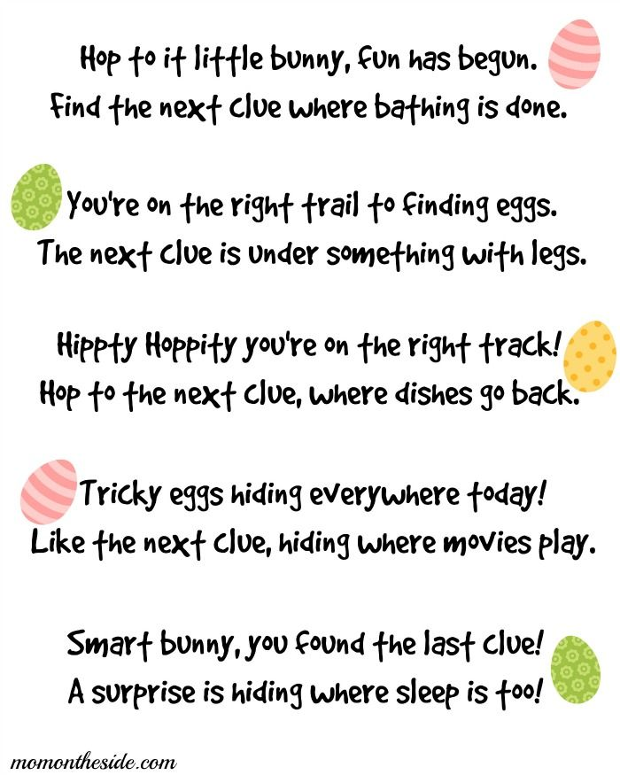Easter Scavenger Hunt Clues Printables