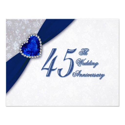45 Wedding Anniversary Gift Ideas: Damask 45th Wedding Anniversary Invitation
