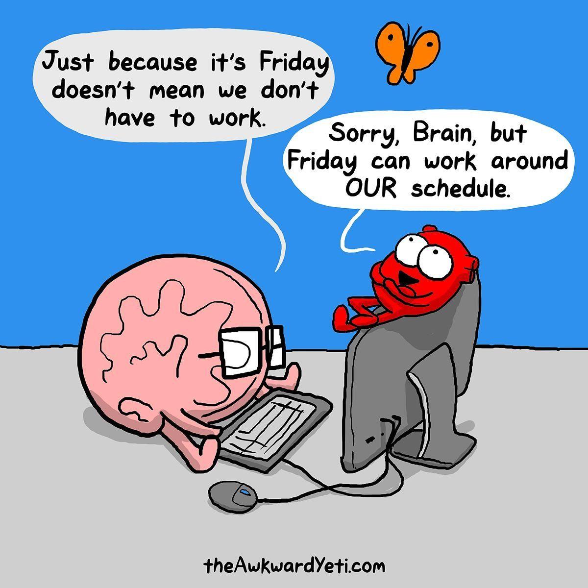 Brain & Heart from The Awkward Yeti Funny cartoon quotes