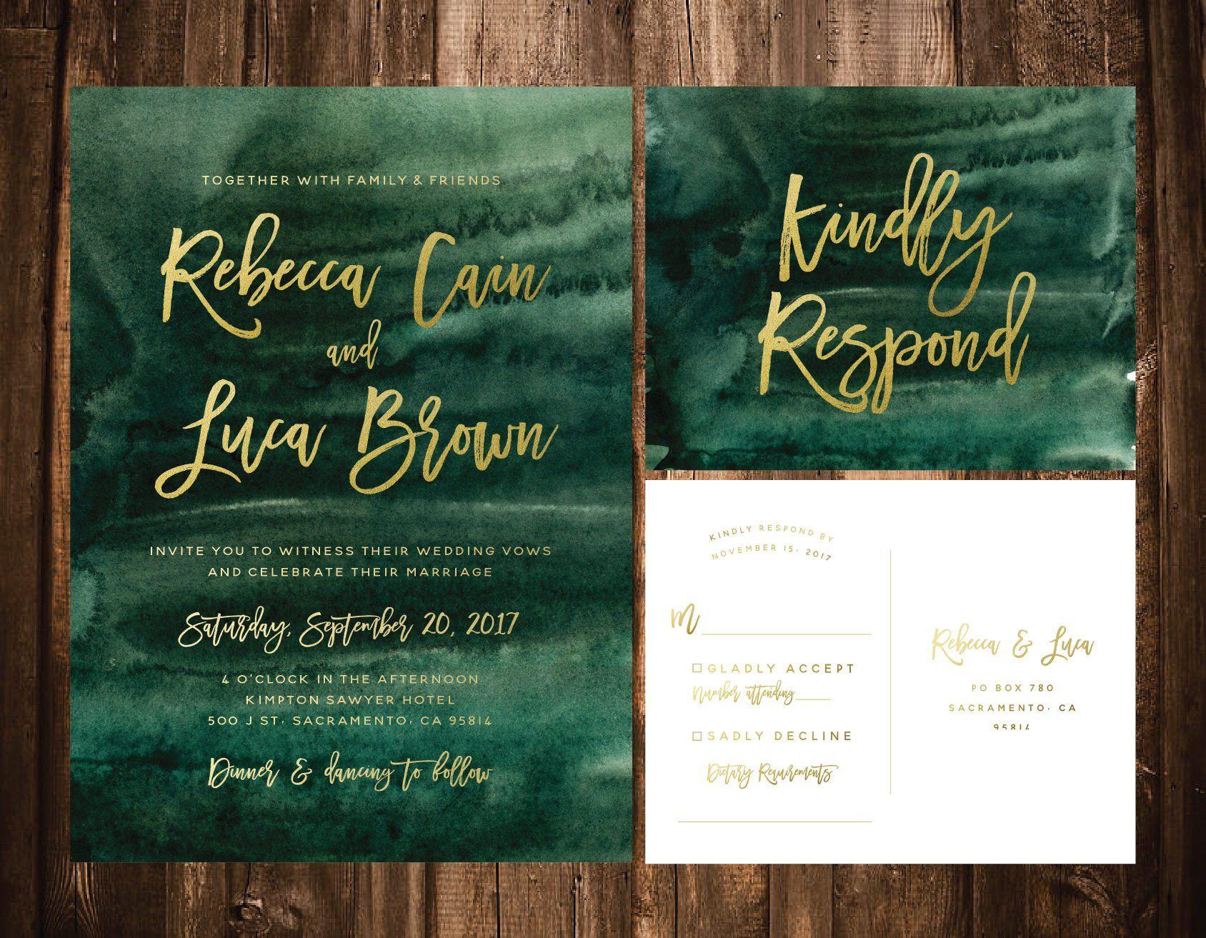 Emerald Watercolor Wedding Invitations Green Watercolor Wedding
