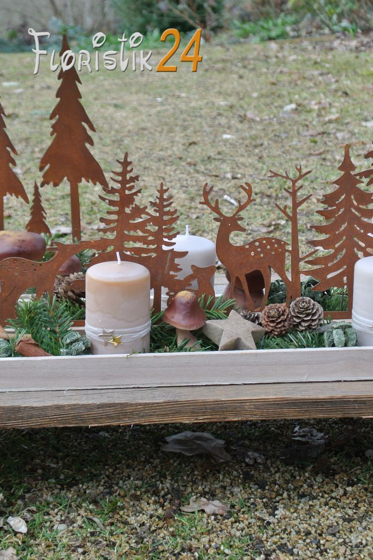 Edelrost Deko Herbstdeko Winterdeko Rostdeko Metall deko Dekotablett Tischdeko #herbstdekotischtablett