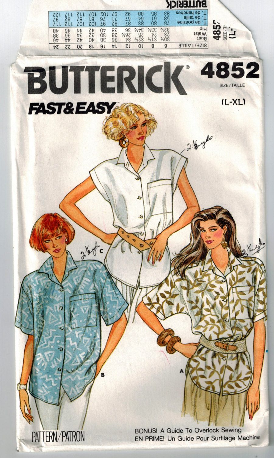 58b1b6173dd Vintage 80s Ladies Shirt Sewing Pattern Plus Size Bust 38-44 Loose Fitting  Summer Blouse Shaped Hemline Dropped Shoulders Epaulets Collar by ...