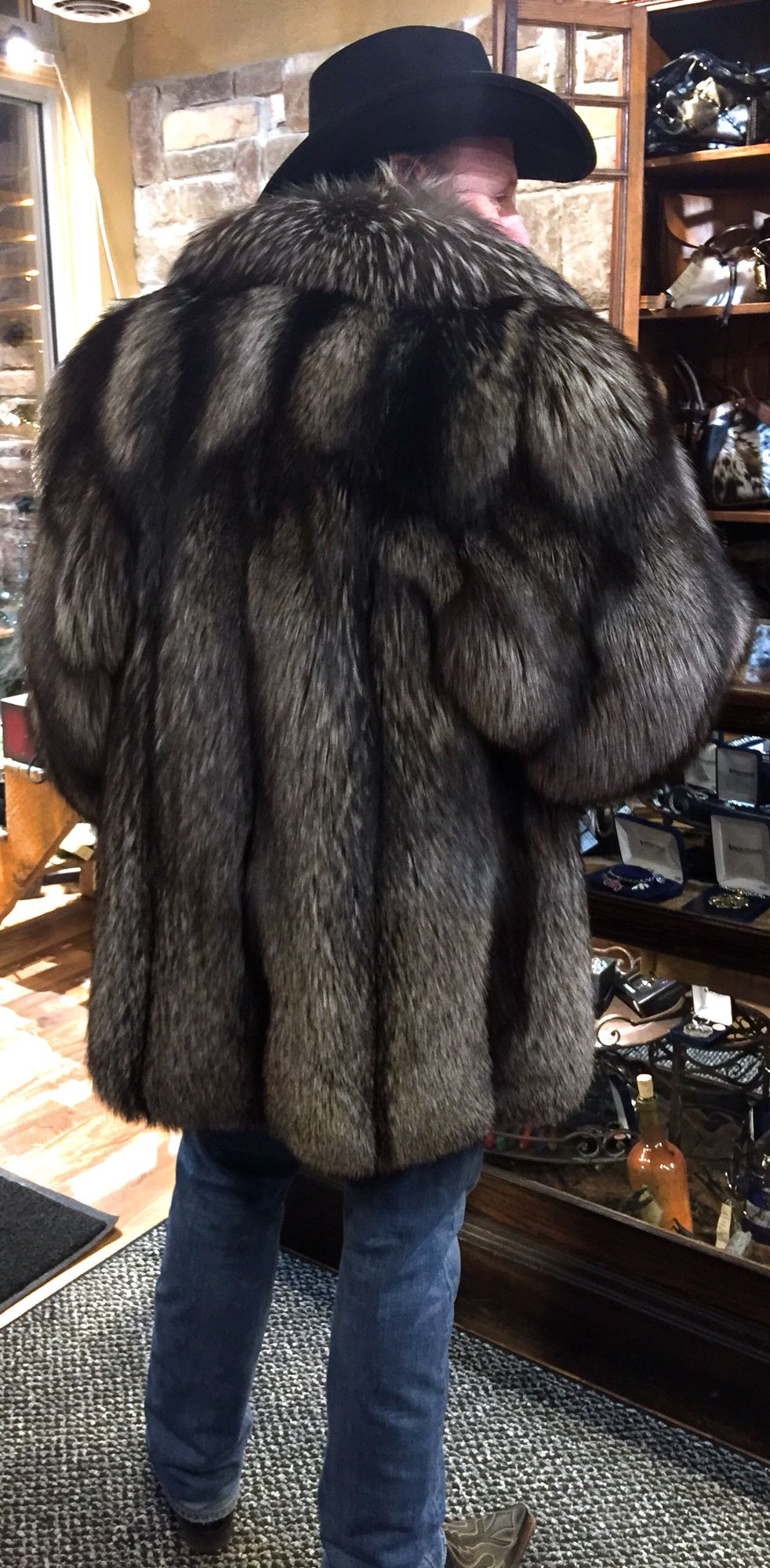 Back view of my new silver fox coat from elements