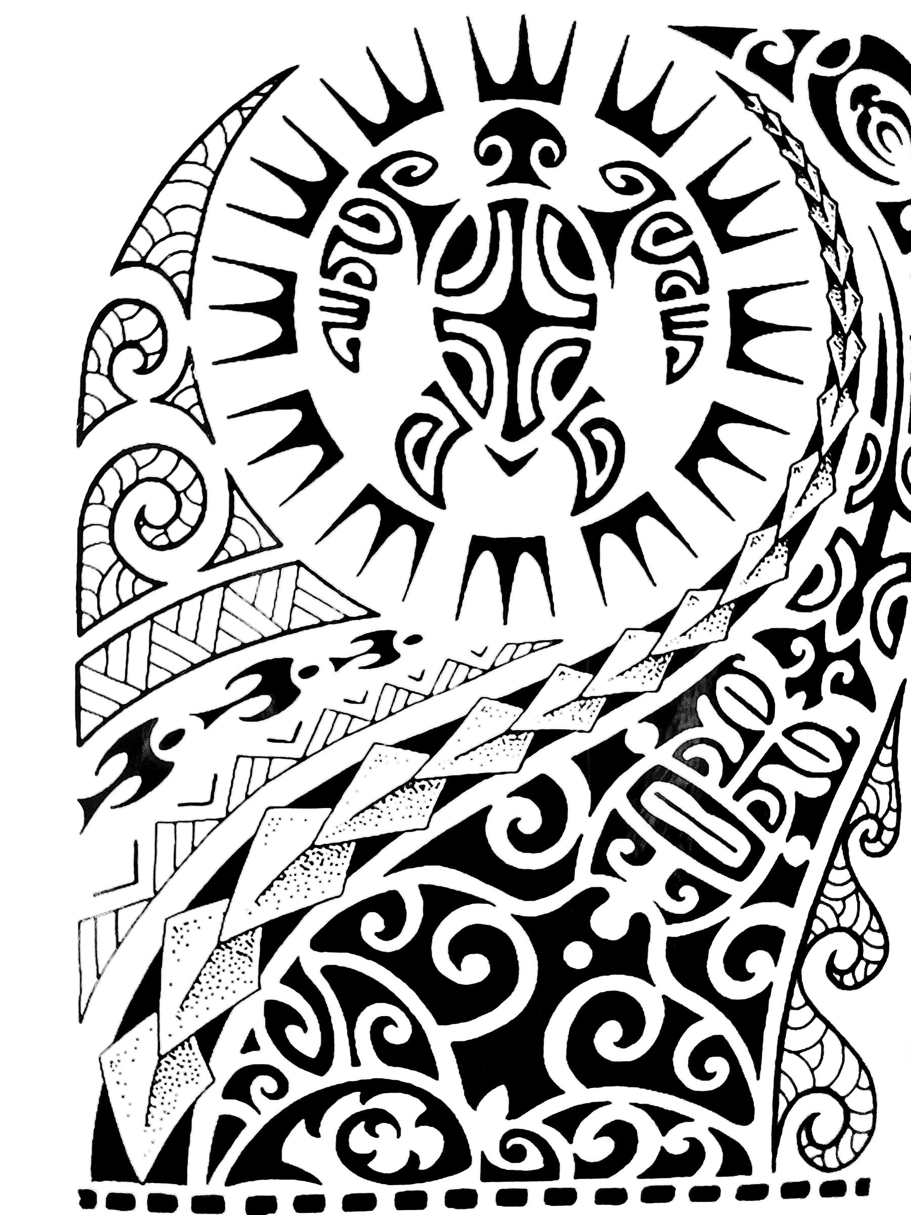 Realistic Large Temporary Tattoo Large Tribal Maui Black Totem Arm Tattoo Marquesantattoos Marquesan Tattoos Polynesian Tattoo Maori Tattoo