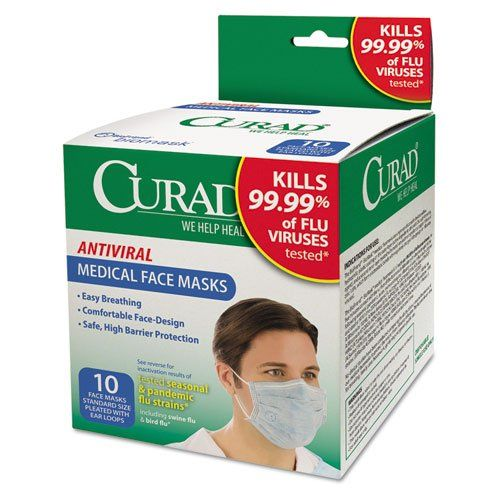 Curad Antiviral Medical Face Mask Pleated 10 Box Antiviral