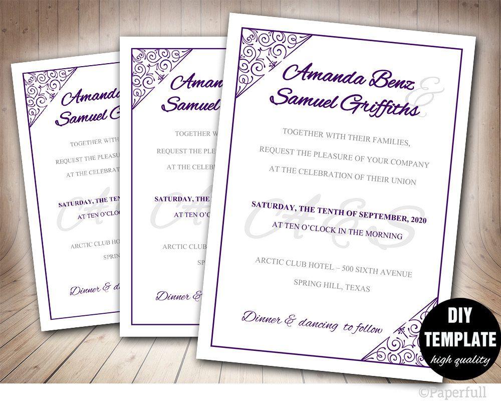 Modern Wedding Invitation Template, DIY Wedding Invitation,Purple ...