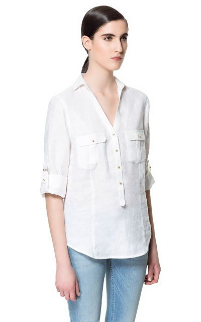 LINEN BLOUSE WITH POCKETS from Zara