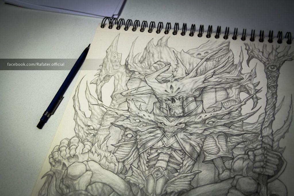 Skeleton king pencil drawing