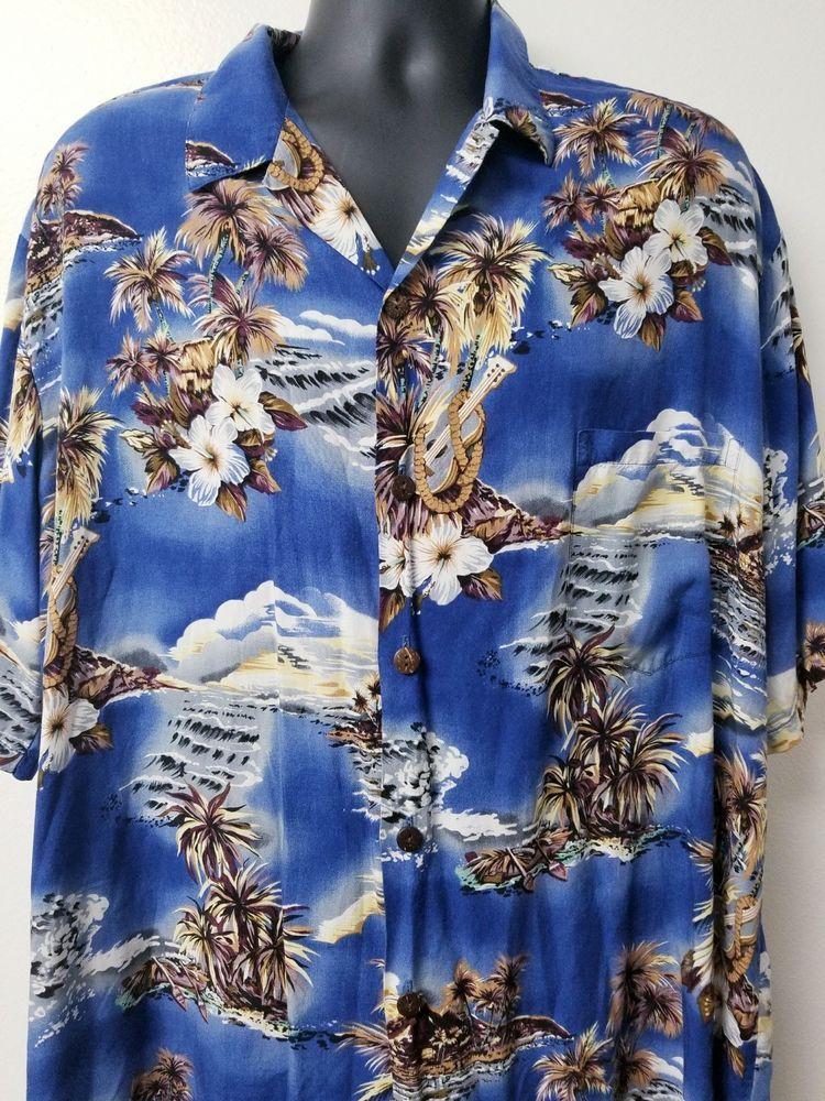 e0198cbb Mens Hilo Hattie Hawaiian 2XL Waves Canoes Island Floral Print Button Up  #HiloHattie #Hawaiian