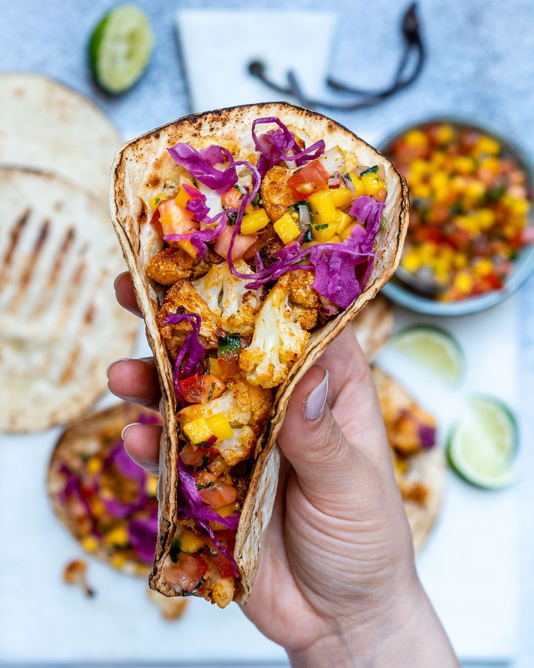 Best Vegan Tacos Recipe (With Cauliflower And Mango Salsa) | Blondelish.com