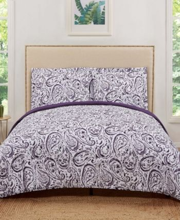 Truly Soft Watercolor Paisley Twin Xl Quilt Set Purple
