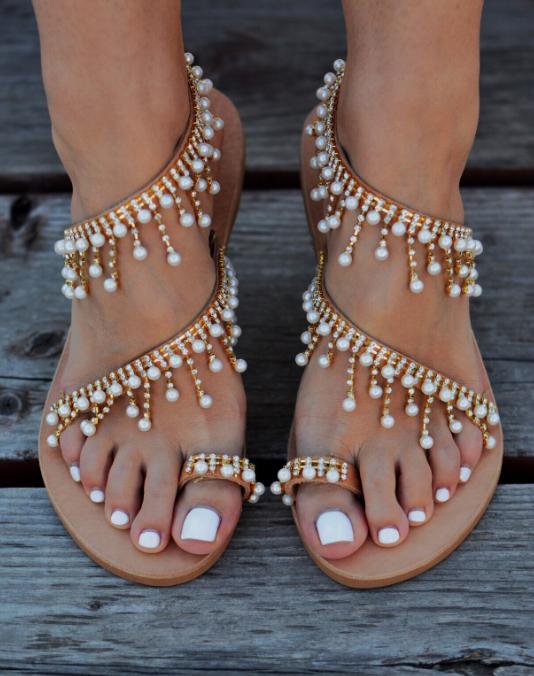 7b7fb1b067b50 pearl embellished flat sandals   clothing   Bridal sandals, Pearl ...