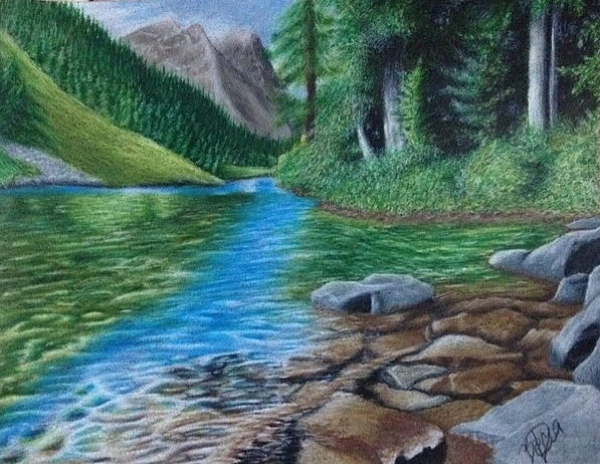 Prize winner in colored pencil mountains forest woods river stream creek gods creation just another sample of beccas amazing talent from etsys