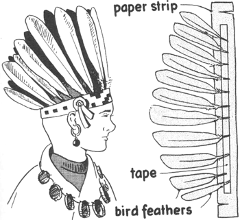 making a native american indian headdress hat instructions and other ideas for american indian costumes