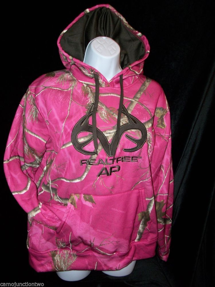 582af479241 Womens   Ladies Realtree AP Camo Hot Pink Pullover Hoodie Hunting Jacket  Sweat  Realtree  Hoodie