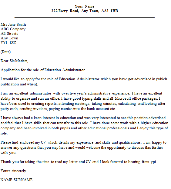 Education Administrator Cover Letter Example Icover Confirmation