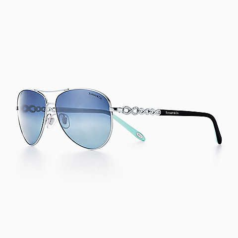 f6510e24ddf3 Tiffany Infinity aviator sunglasses in silver-colored metal ...