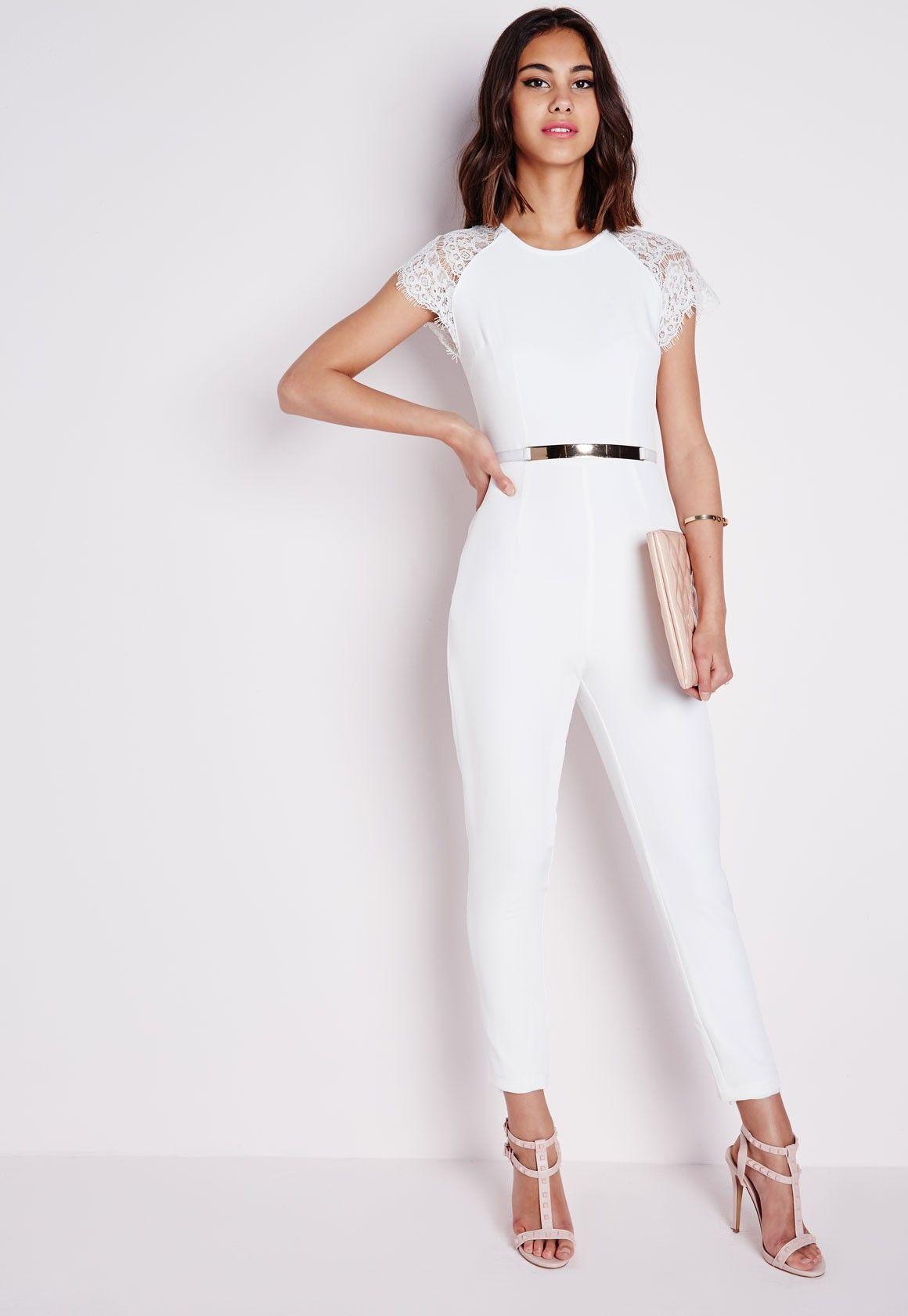 c569e0e723d Lace Cap Sleeve Jumpsuit Ivory - Jumpsuits - Evening Jumpsuits - Missguided