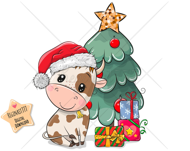 Cute Bull Png Digital Download Christmas Clipart Children Etsy Kawaii Christmas Christmas Cartoons Christmas Characters