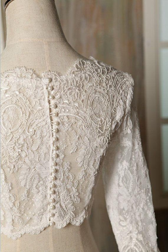 Lace wedding dress jacket bolero top wedding jacket shrug for Lace wedding dress with pearls