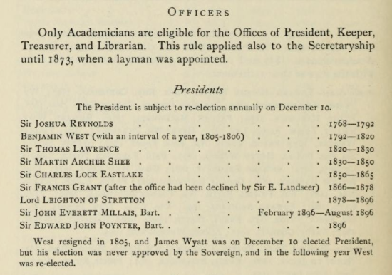 List of Presidents of the Royal Academy. 1768 to 1896.  From The Royal Academy and its members 1768-1830 by Hodgson, J. E. (John Evan), 1831-1895; Eaton, Frederick Alexis Published 1905. Publisher London : John Murray
