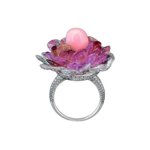 "A CONCH PEARL, PINK SAPPHIRE AND DIAMOND ""FLOWER"" RING, BY MORELLE... ❤ liked on Polyvore featuring jewelry, rings, white pearl ring, diamond jewelry, flower jewelry, diamond rings and pave diamond ring"