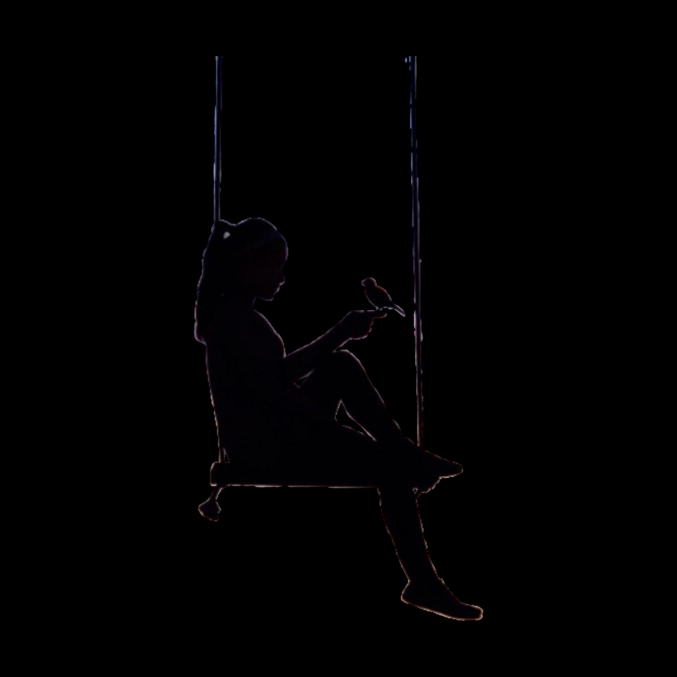 Freetoedit Silhouette Swing Bird Women Woman Sitting Remixit Silhouette Art Silhouette Painting Silhouette Drawing