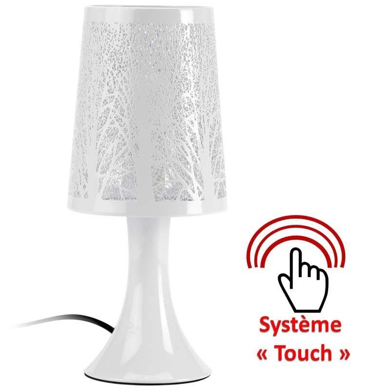 lampe de chevet blanche abry petit luminaire de style moderne allumage au touch lampe. Black Bedroom Furniture Sets. Home Design Ideas