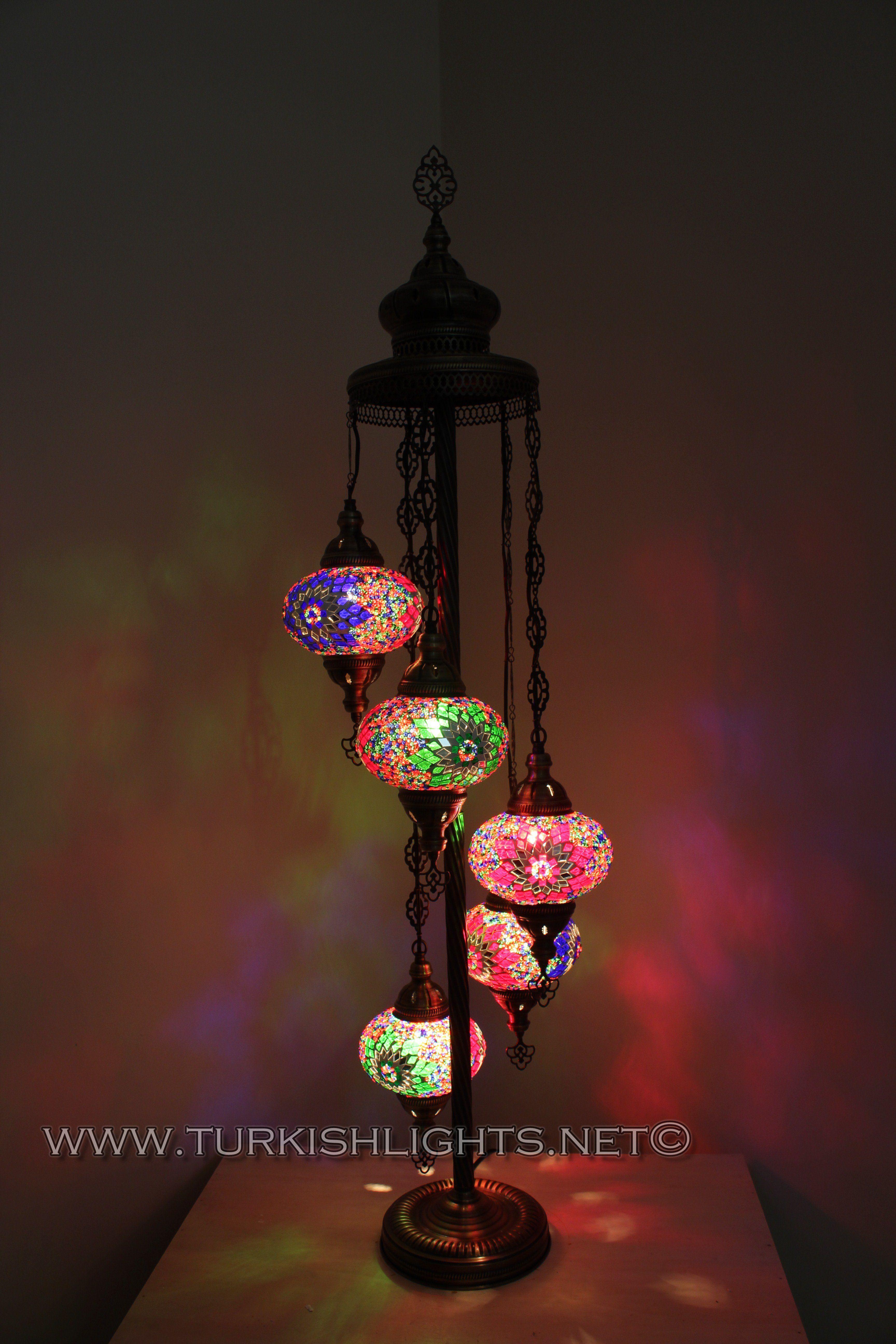 5 BALL TURKISH MOSAIC FLOOR LAMP WITH LARGE GLOBES LAMBADER