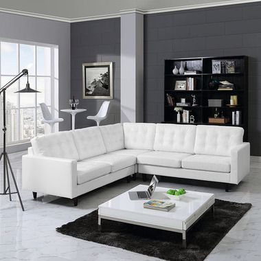 Empress 3 Piece Leather Sectional Button Back Sofa Set in White ...