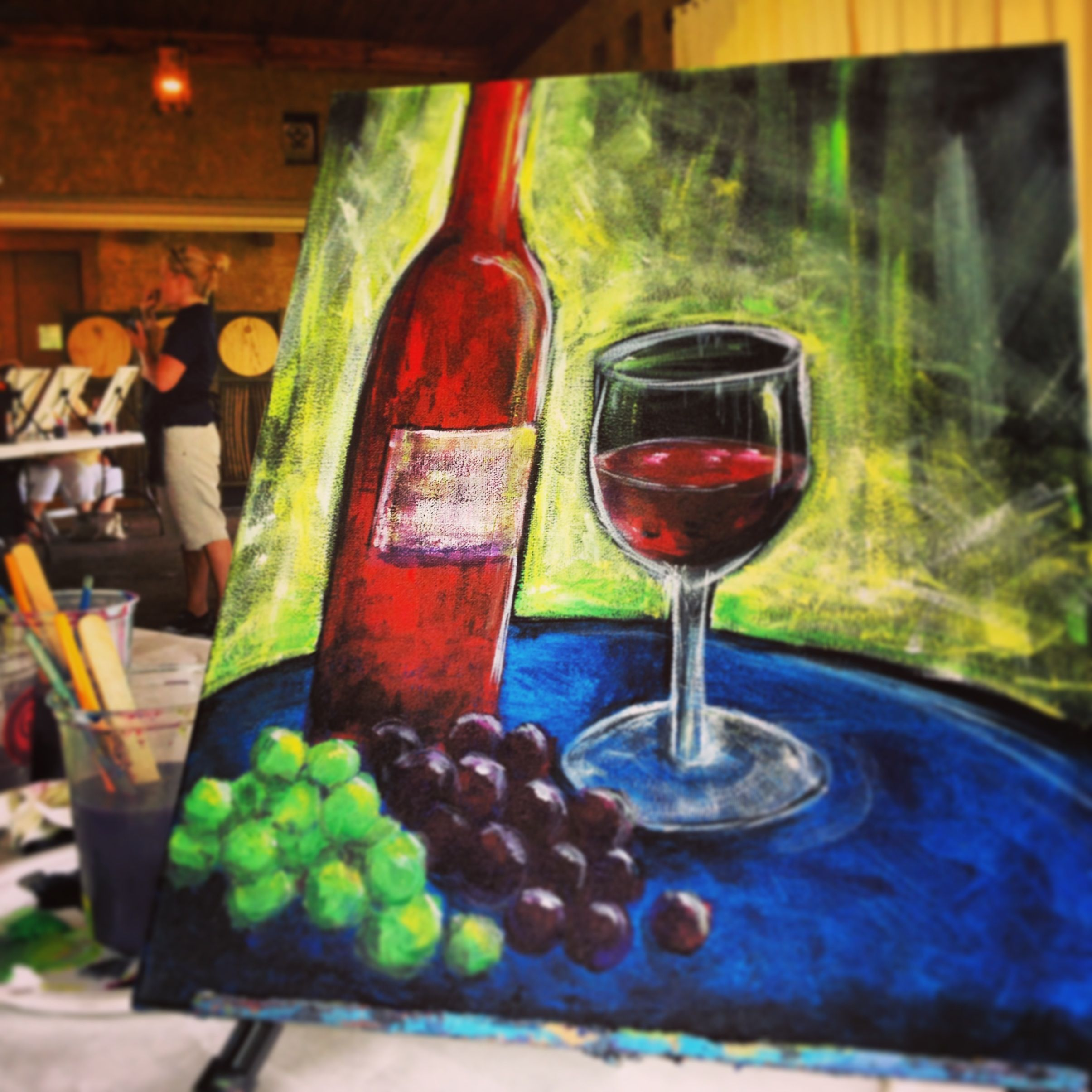 My wine canvas painting at gervasi vineyard event for Wine paint party