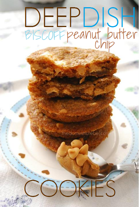 DEEP DISH Biscoff Peanut Butter Chip Cookies. SO delish!! From @The Domestic Rebel