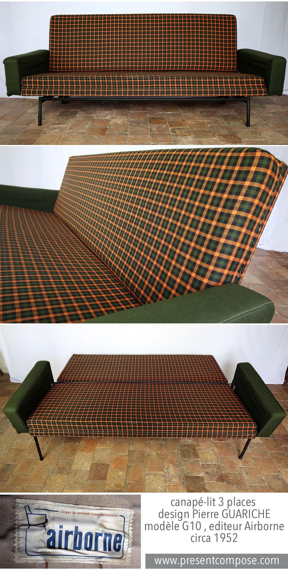 canap lit 3 places vintage design pierre guariche mod le g10 editeur airborne circa 1952 www. Black Bedroom Furniture Sets. Home Design Ideas