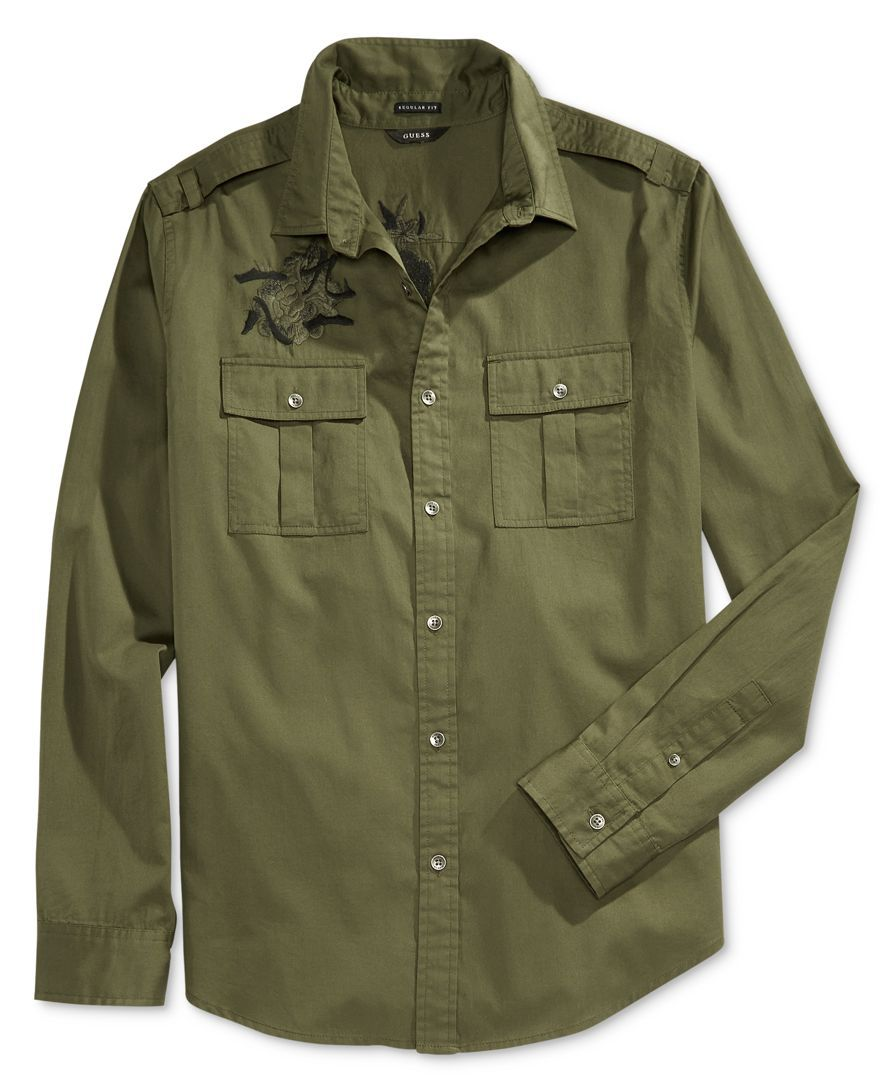 fcecb8c2e Guess Men's Twill Embroidered Military Shirt | Casual shirts in 2019 ...