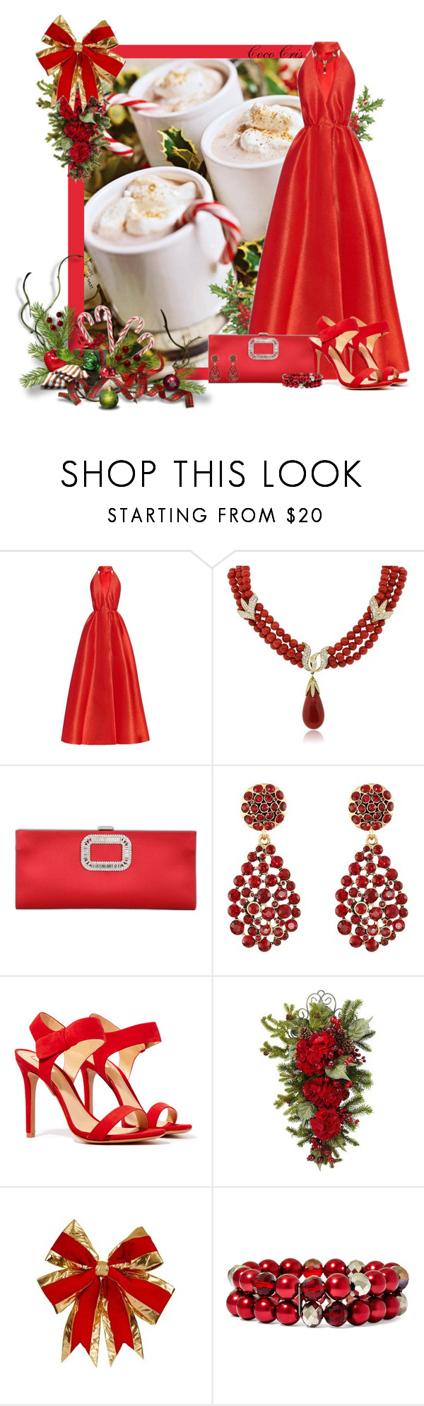 """""""hot wintery drinks"""" by mscococris ❤ liked on Polyvore featuring Emilia Wickstead, Roger Vivier, Oscar de la Renta, Schutz, Nearly Natural and Vieste Rosa"""