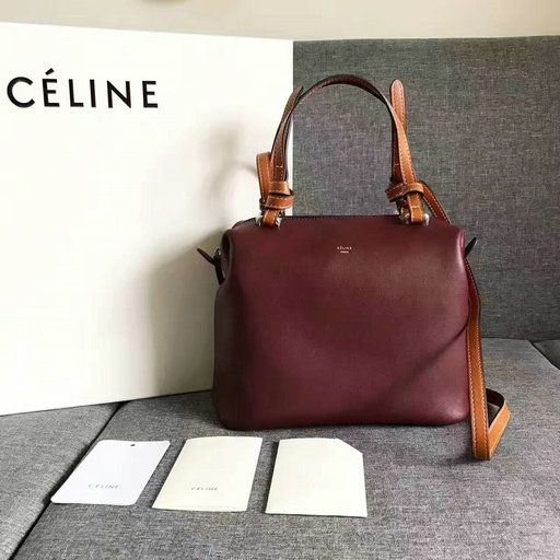 2017 Céline Small Soft Cube Bag in Burgundy Smooth Calfskin Leather ... 64542b628eecc