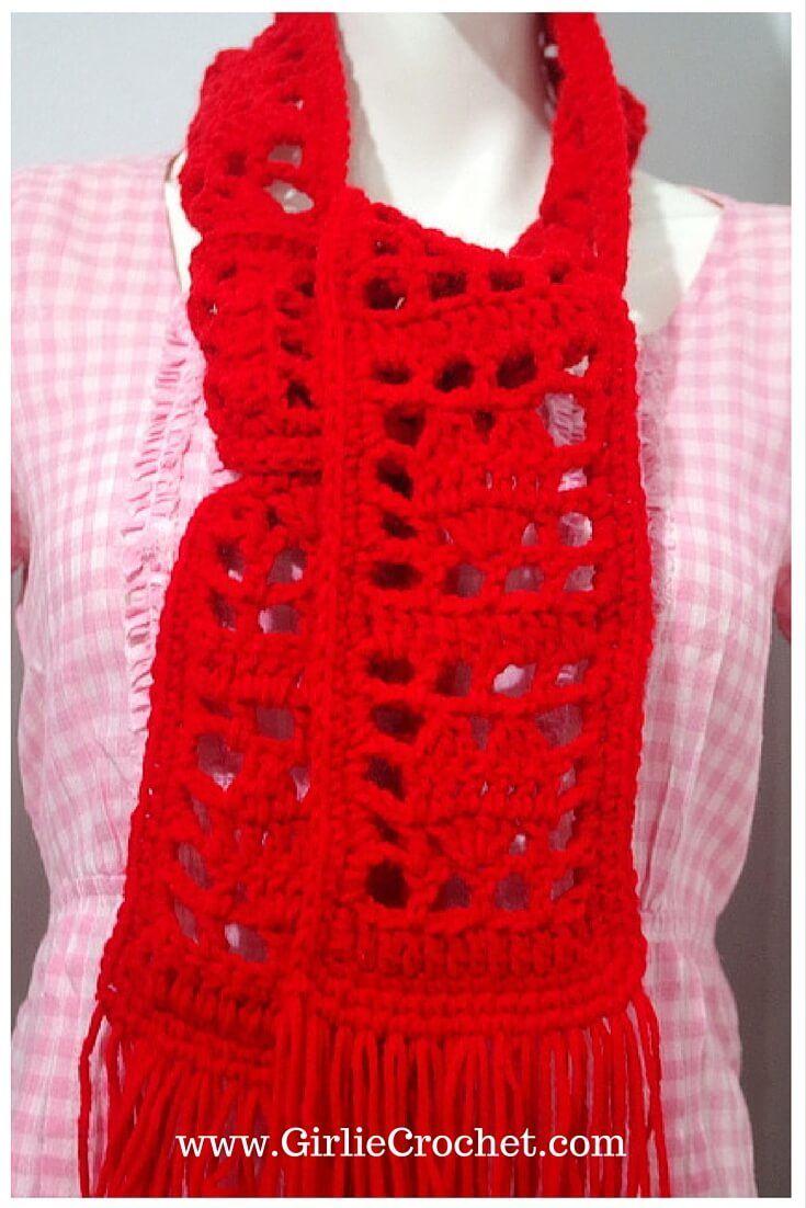 lovely scarf, free crochet scarf pattern, easy, filet crochet ...