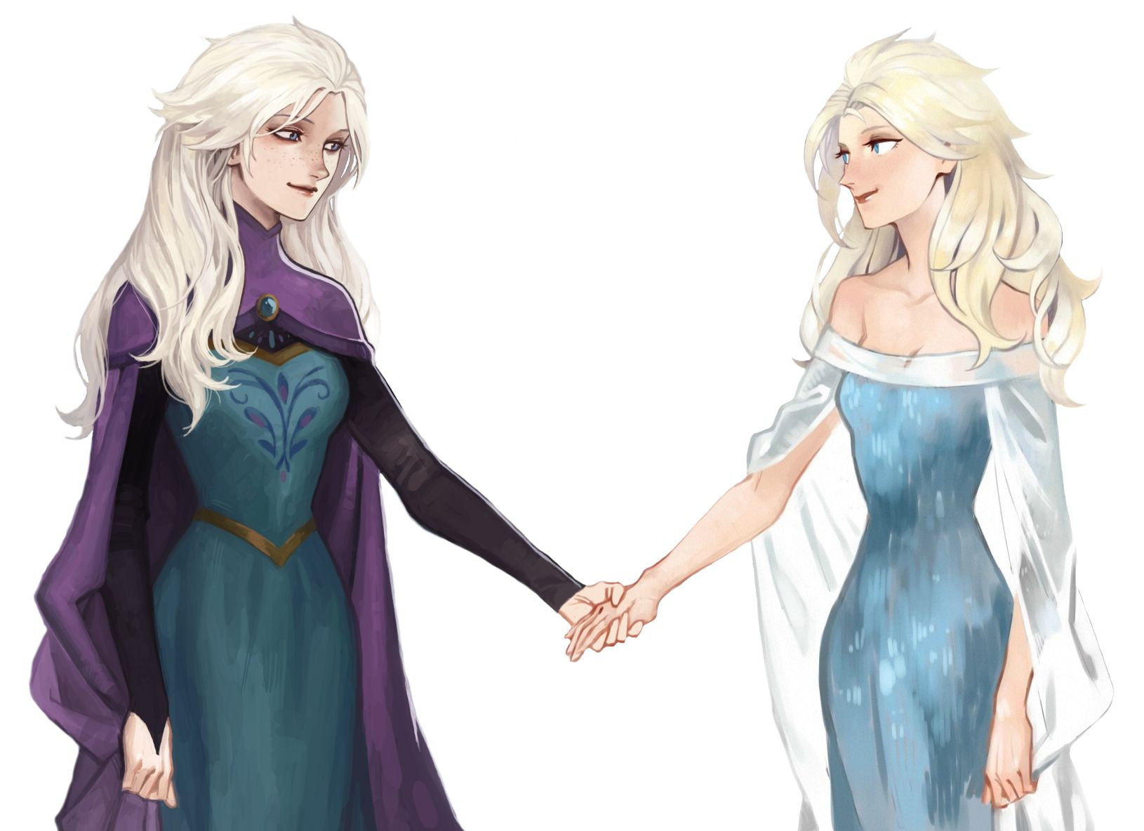 Both Elsas With Their Hair Down Frozen Disney Movie Disney Frozen Elsa Frozen Art