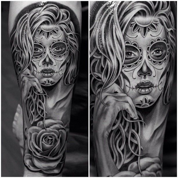 Sugar Skull Tattoo Black And White Tattoo Grey Tattoo Best Tattoos Ever Tattoo By Jun Cha 04 Skull Girl Tattoo Sugar Skull Tattoos Tattoos